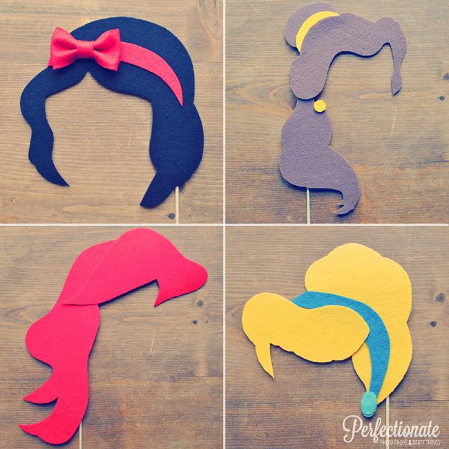 Disney Princess Hair Cut-Outs for Photo Booth // From: 11 Disney Wedding Ideas That Aren't Cheesy // Featured: The Knot Blog