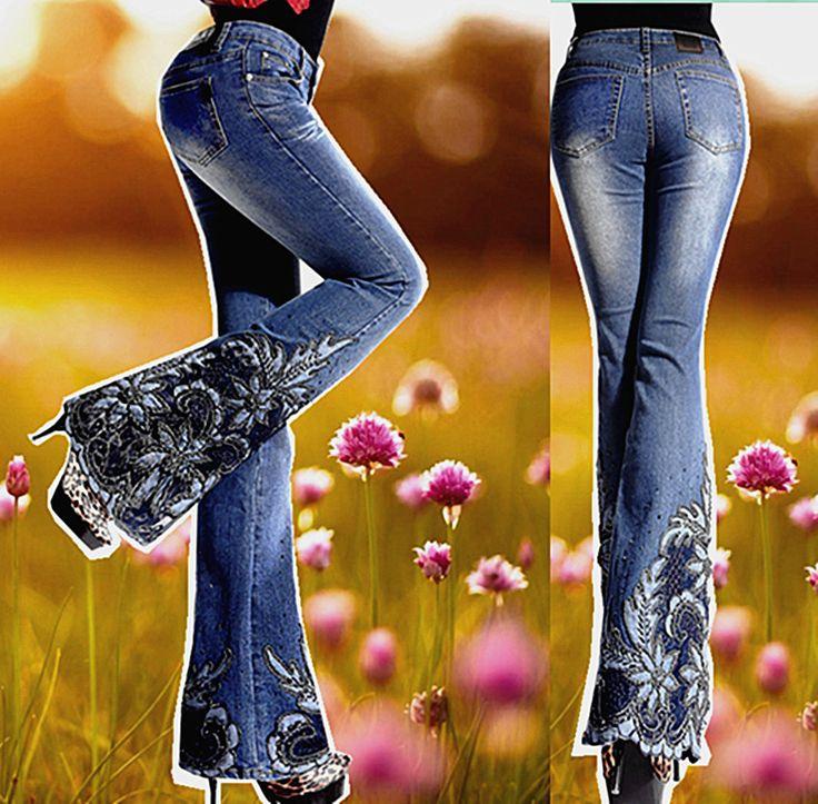 2017 Nueva Primavera de Lujo Bordado Bengalas Big Acampanados Pantalones Vaqueros de Corte Para Botas Femeninas de Mediados de Cintura Fina Abalorios Bordados Pantalones Vaqueros de Campana Inferior en Pantalones vaqueros de Ropa y Accesorios de las mujeres en AliExpress.com | Alibaba Group