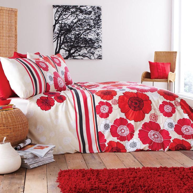 Details About Graphite Poppy Red Beige U0026 Black Applique Floral Duvet  Quilt Cover Bedding Set