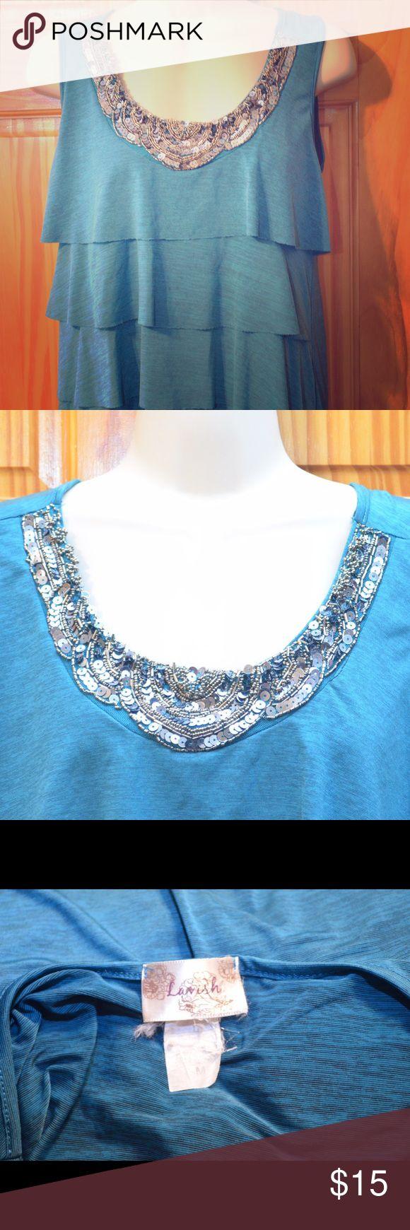 Lavish Turquoise Beaded Tiered Top Lavish Turquoise Beaded Tiered Top. Size M. Great condition. Anthropologie Tops Tank Tops