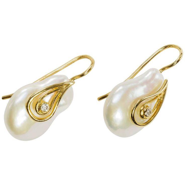 Yvel Freshwater Baroque Pearl Diamond Gold Earrings | 1stdibs.com