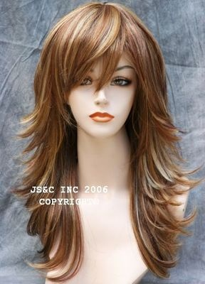 Hot Classic Flipout WIG Straight Layered Auburn Blonde Red w. Bangs JSFN RS29