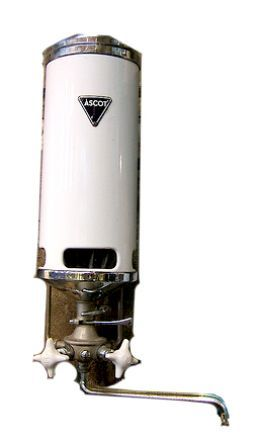 Ascot water heater.... with built-in eyebrow-trimming facility!!