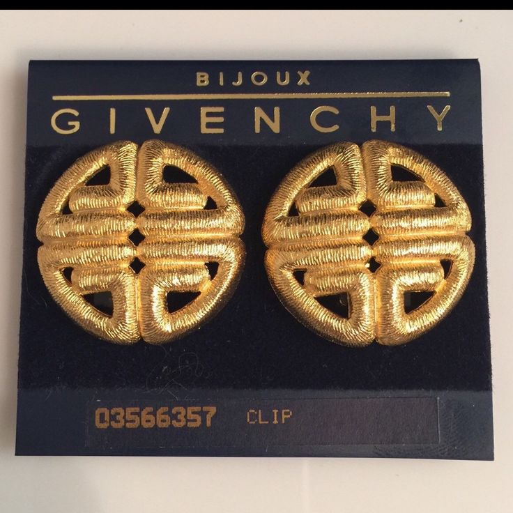 ON SALE - REDUCED  GIVENCHY VINTAGE 1980's EARRINGS NEW OLD STOCK ON CARD WERE $150 usd  NOW $120 usd