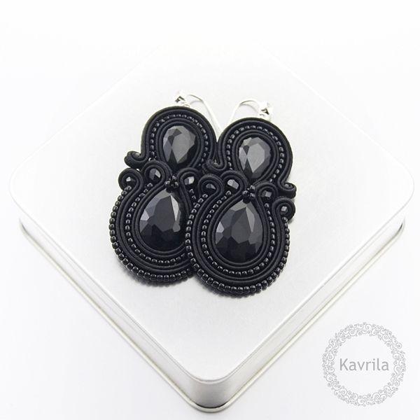 Syrino black soutache - kolczyki czarne sutasz KAVRILA #sutasz #kolczyki #wieczorowe #rękodzieło #soutache #handmade #earrings #night #black #kavrila