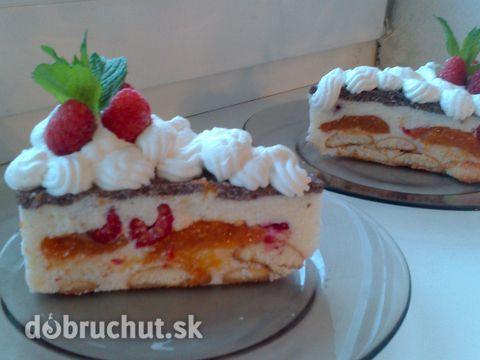 Fotorecept: Ovocná tvarohová torta - Úžasná zdravá studená torta. Milujem ju.