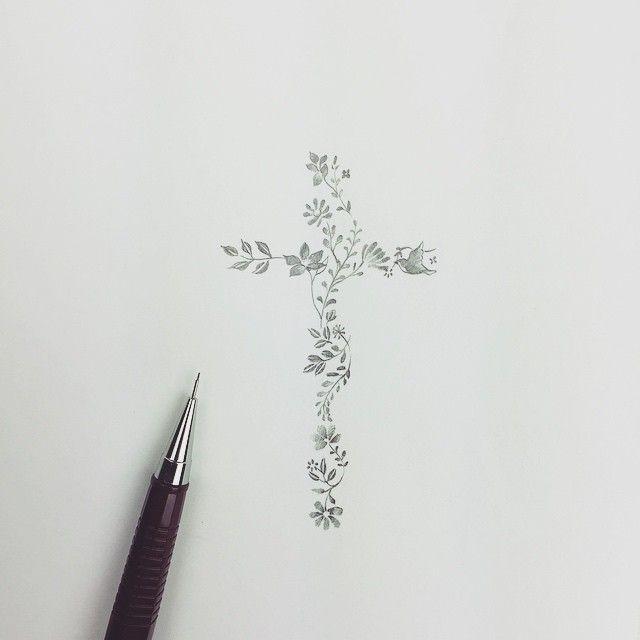 십자가 + 꽃 +새 도안 . #0.3#샤프#솔타투#tattoo#타투