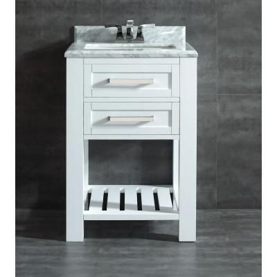 Home Decorators Collection Paige 24 In Vanity In White With Marble Vanity Top In Carrara White