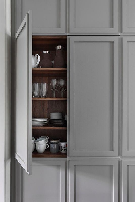 Hammersmith Grove by MWAI Architecture & Interiors #greykitchen #storage #detail