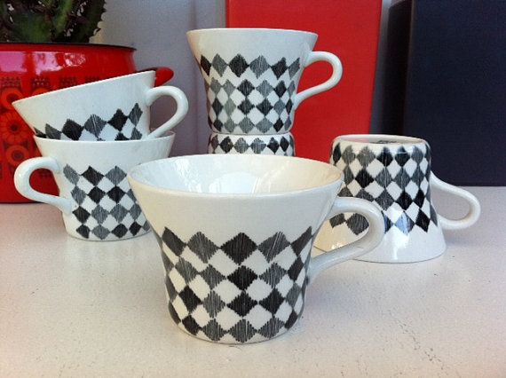 R 246 Rstrand Sweden Red Top Tea Cups Set Of Six 1950s