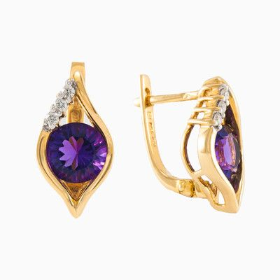 Womens gold earrings with amethyst in 18k yellow gold with diamonds. Beautiful, natural honed amethyst with total weight 2.22ct. Each of these pretty earrings features a trio of shimmering diamonds with total weight 0.11ct. Beautiful and creative design make a perfect piece of jewelry for many occasions.