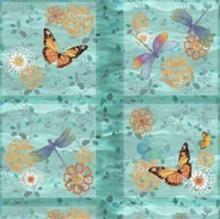 Motyle i ważki błękit-panel-tkanina bawełniana