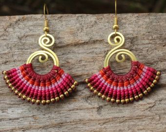 Woven cotton tribal earrings with brass texture by cafeandshiraz
