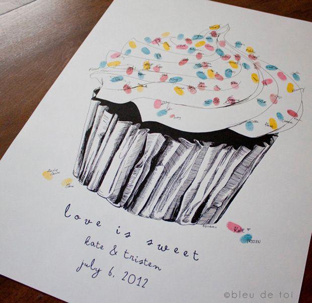 fingerabdruck gaestebuch cupcake von bleu de toi