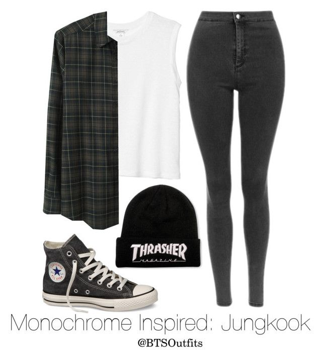 """Monochrome Inspired: Jungkook"" by btsoutfits ❤ liked on Polyvore featuring Converse, Monki and Rachel Comey"
