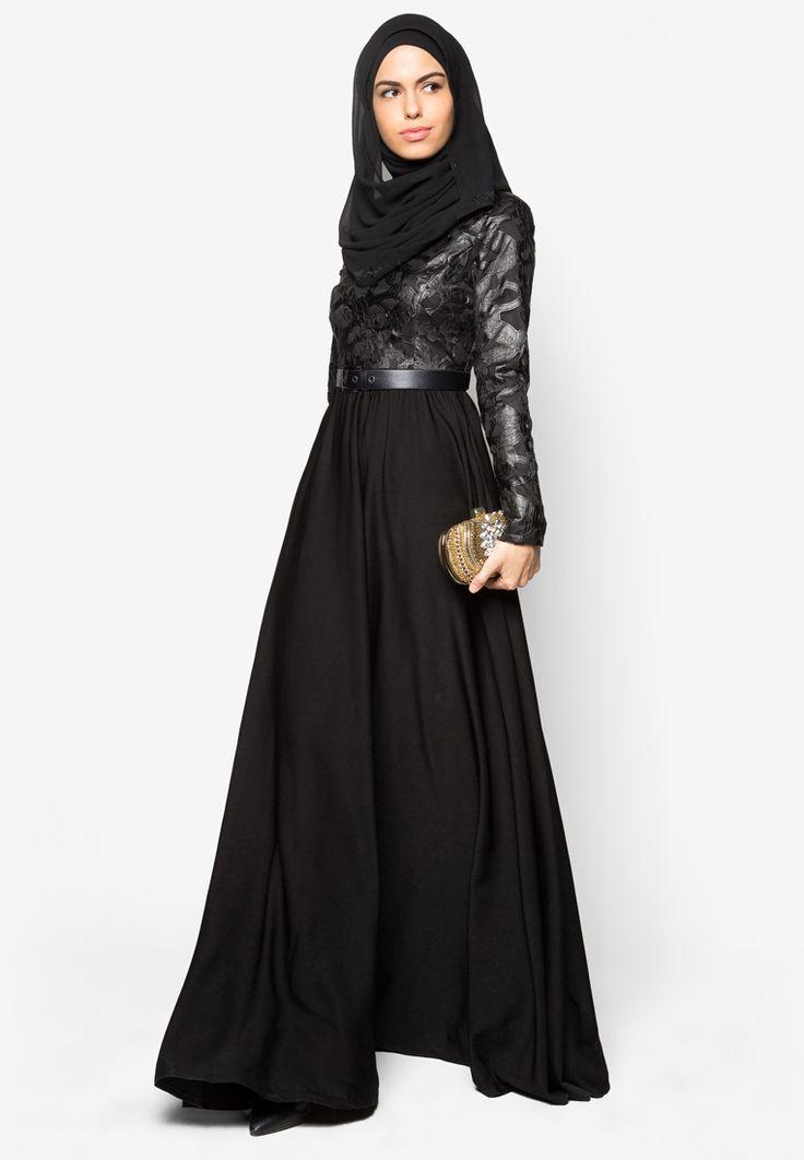 Buy Zalia Embroidered PU Pieced Maxi Dress Online   ZALORA Malaysia