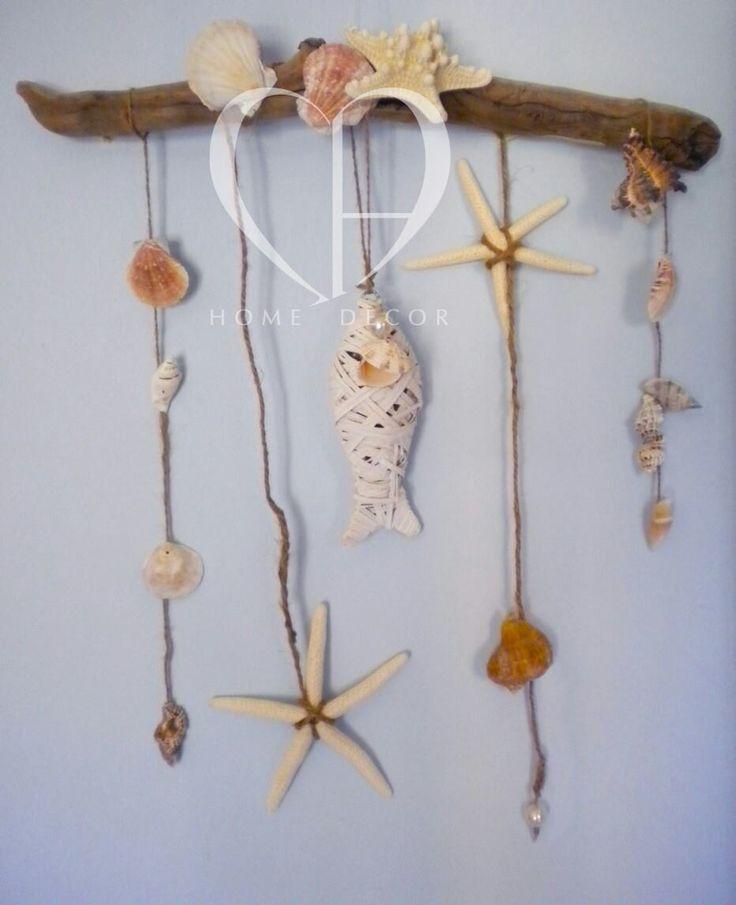 Appendiporta : conchiglie,stelle marine, cordae pesce in bambù sbiancato  Dimensioni ca. 40x40 cm