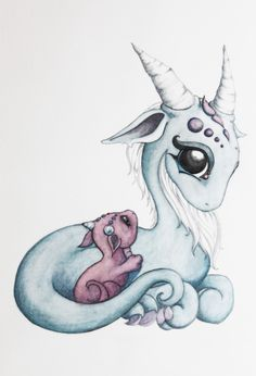 Mama and baby dragon
