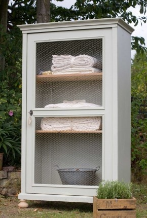 Old Antique Cupboard with Chicken Wire Door. The look I'm going for with my curio cabinet