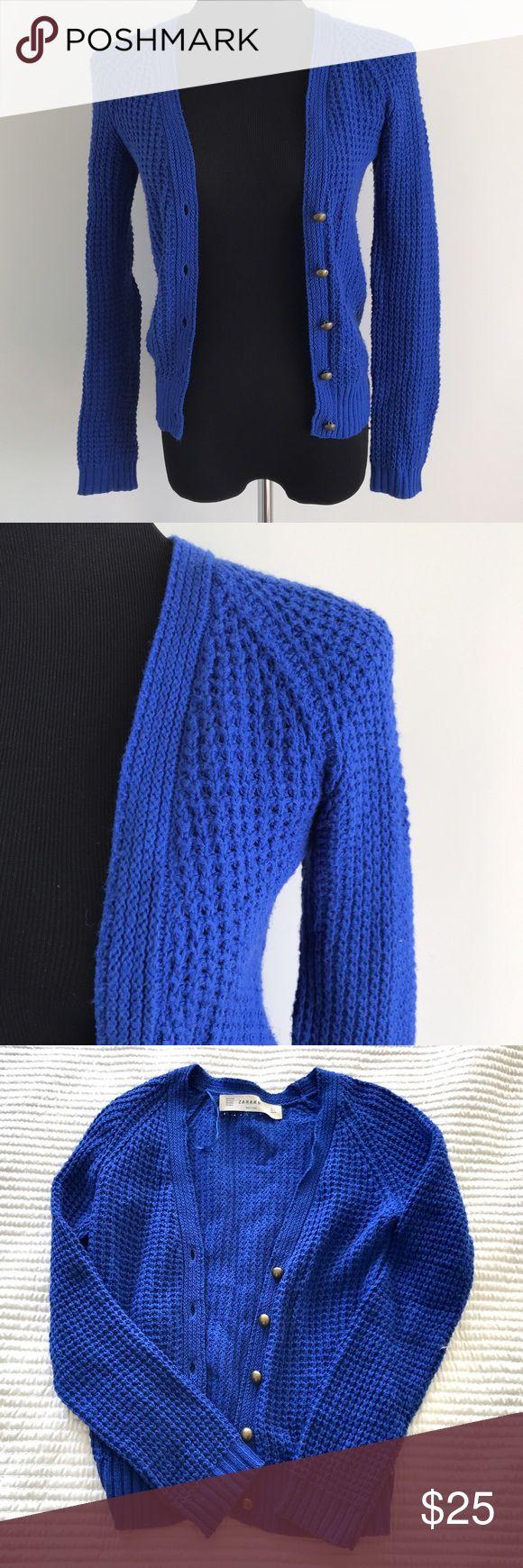 Zara royal blue knit cardigan Perfect blue warm cardigan with metal buttons // no damage no pulls Zara Sweaters Cardigans