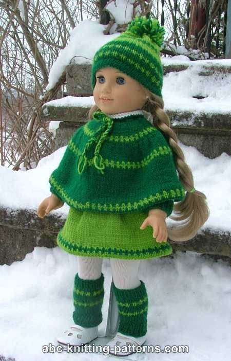 ABC Knitting Patterns - American Girl Doll Christmas Carol Outfit (Skirt, Cape, Hat and Legwarmers).