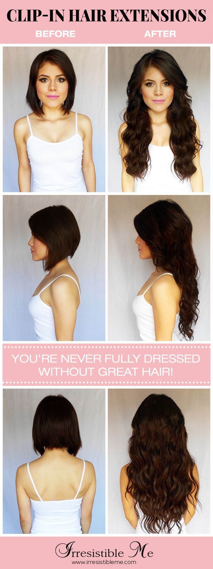Get long hair in less than 5 minutes with Irresistible Me 100% human Remy clip-in hair extensions. The before and after change is totally awesome and nobody will know you're wearing hair extensions. Can be cut, dyed and heat styled. Worldwide delivery, free exchanges and returns. Big Valentine's Day SALE on site between January 25th - February 14th 2016!