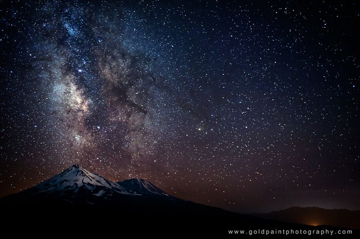 """Our Milky Way: Veteran night sky photographer Brad Goldpaint took this amazing photo of the Milky Way over Mount Shasta, California, during three years of astronomical photo sessions. The image is featured in Goldpaint's night sky observing video """"Within Two Worlds.""""  CREDIT: Copyright © 2012 Goldpaint Photography, All Rights Reserved"""