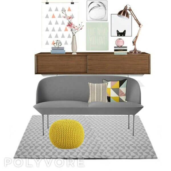 midcentury modern living room gray and brown with touch of yellow