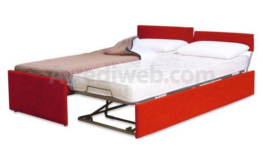 Letto con doppio letto estraibile salva spazio M1560 - prodotti - Divani, poltrone, letti, pouf e salotti artigianali - ArrediWeb 590