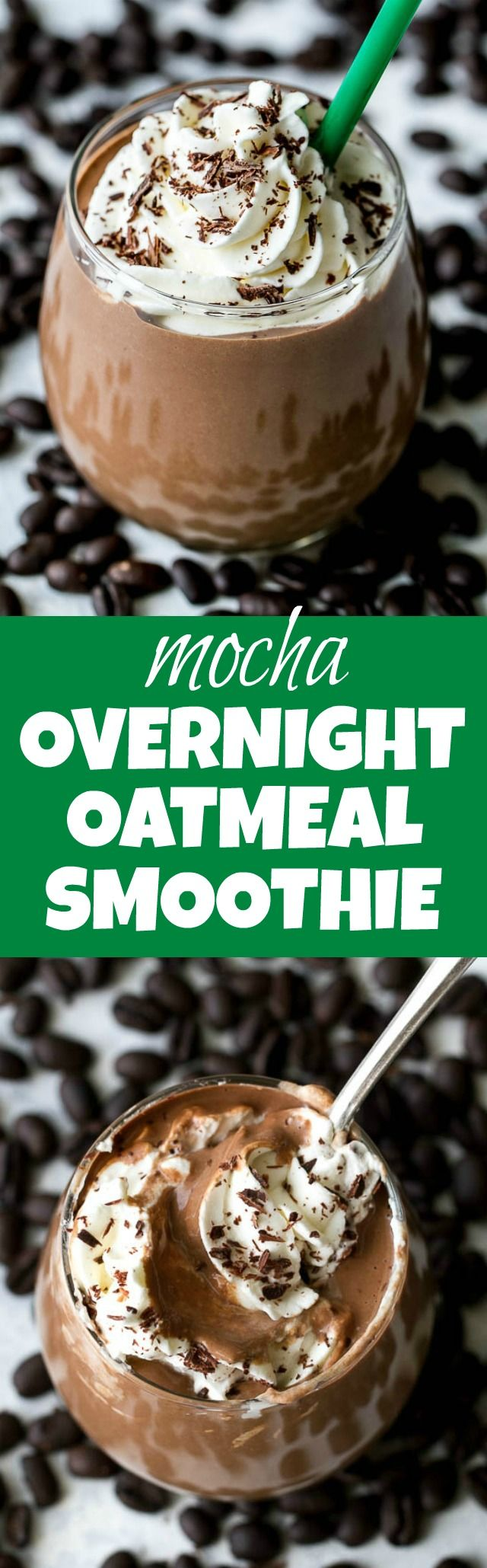 Mocha Overnight Oatmeal Smoothie - the stick-to-your-ribs feeling of a bowl of oats in a thick and creamy smoothie that's guaranteed to keep you satisfied for hours! Vegan, gluten-free, and packed with plant-based protein and fiber, this smoothie is perfect for both coffee and chocolate lovers! | runningwithspoons.com