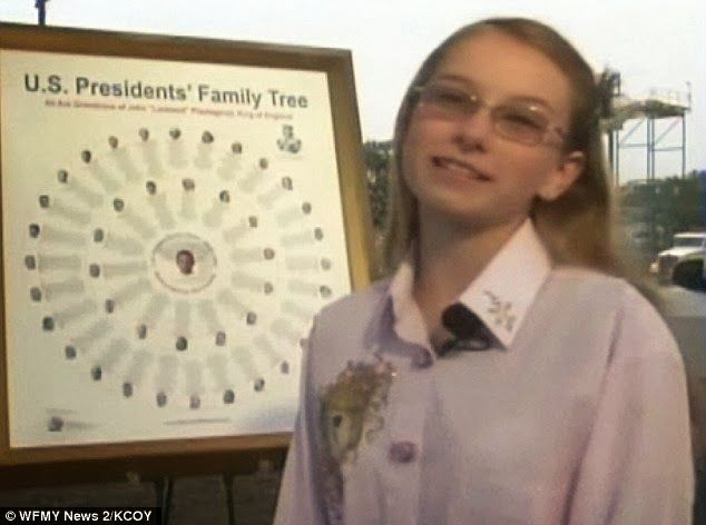 Budding genealogist - BridgeAnne d'Avignon created a family tree that connected 42 of 43 U.S. presidents to one common ancestor
