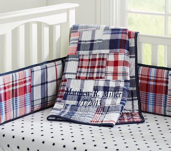 NEW PBK MADRAS Nursery CRIB BEDDING QUILT BUMPER SKIRT + STAR Sheet NAVY/ RED