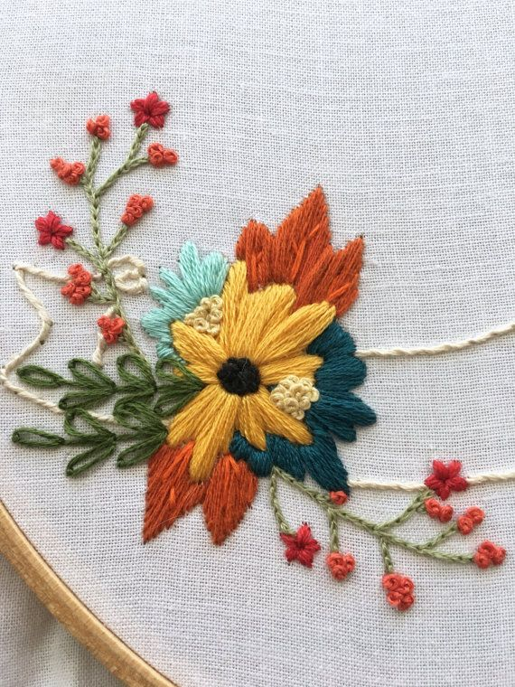 Floral ribbon hand embroidery pattern beginner by