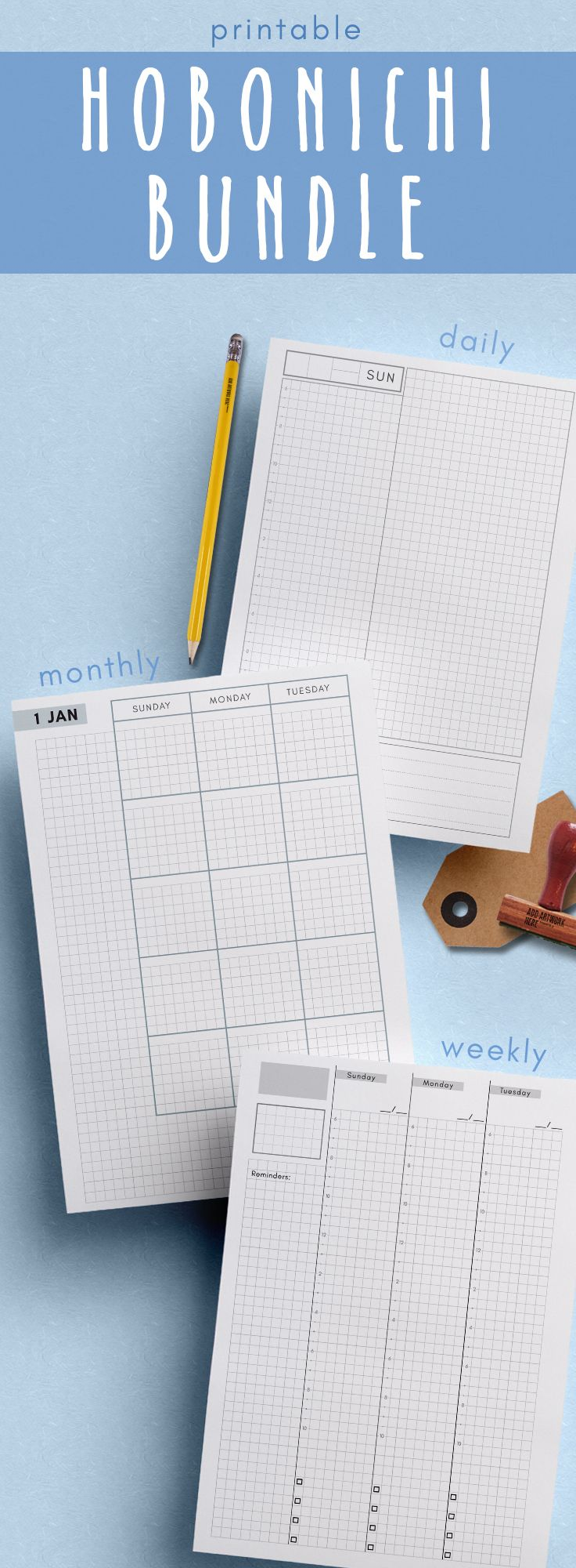Printable Hobonichi Techo Cousin - style planner. Monthly, weekly, and daily grid planners in A5 #hobonichi #planner #printable