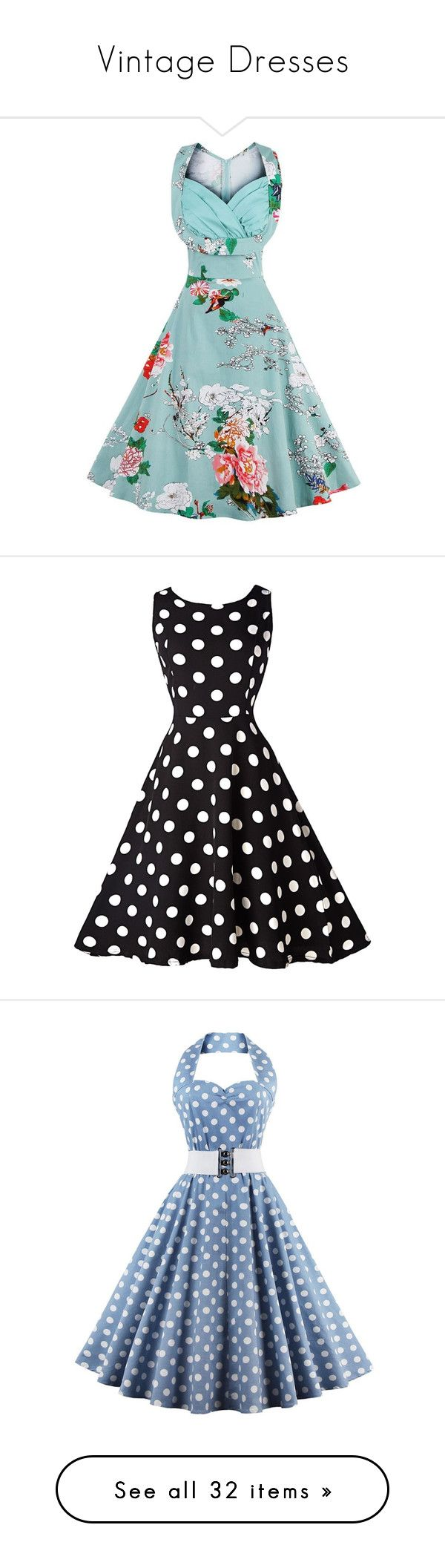 """Vintage Dresses"" by us-and-them ❤ liked on Polyvore featuring dresses, blue vintage dress, floral print midi dress, vintage floral dress, flower print dress, v neck midi dress, black, sleeveless swing dress, polka dot swing dress and print dress"