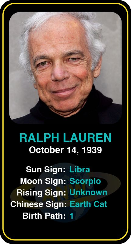 Celeb #Libra birthdays: Ralph Lauren's astrology info! Sign up here to see more: astroconnects.com #astrology #horoscope #zodiac #birthchart #natalchart #ralphlauren