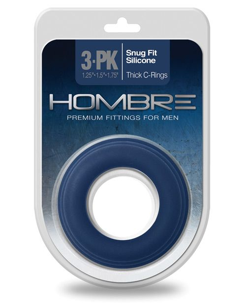 Hombre Snug Fit Silicone Thick C Rings Navy Pack Of 3 Snug Fit