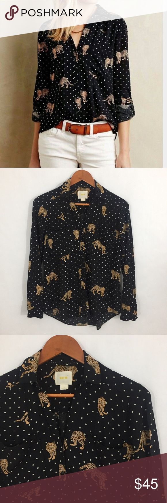 Maeve leopard blouse Excellent condition.  Sleeves can be rolled and buttoned.  Fits true to size.  Reasonable offers welcome.  No trades.  20% off 2 or more listings from my closet. Anthropologie Tops Blouses