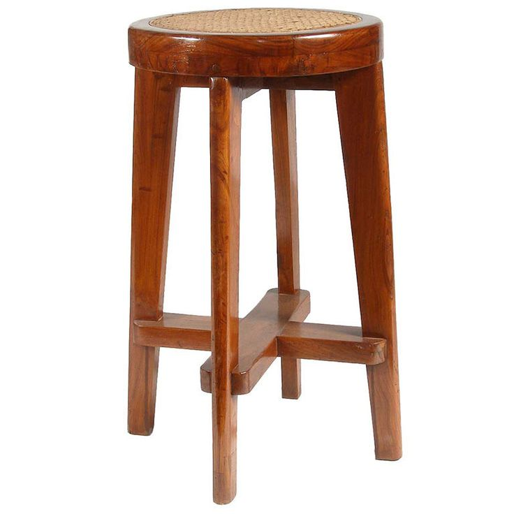 Pierre Jeanneret Caned Teak High Bar Stool (Chandigarh, India) | 1stdibs.com