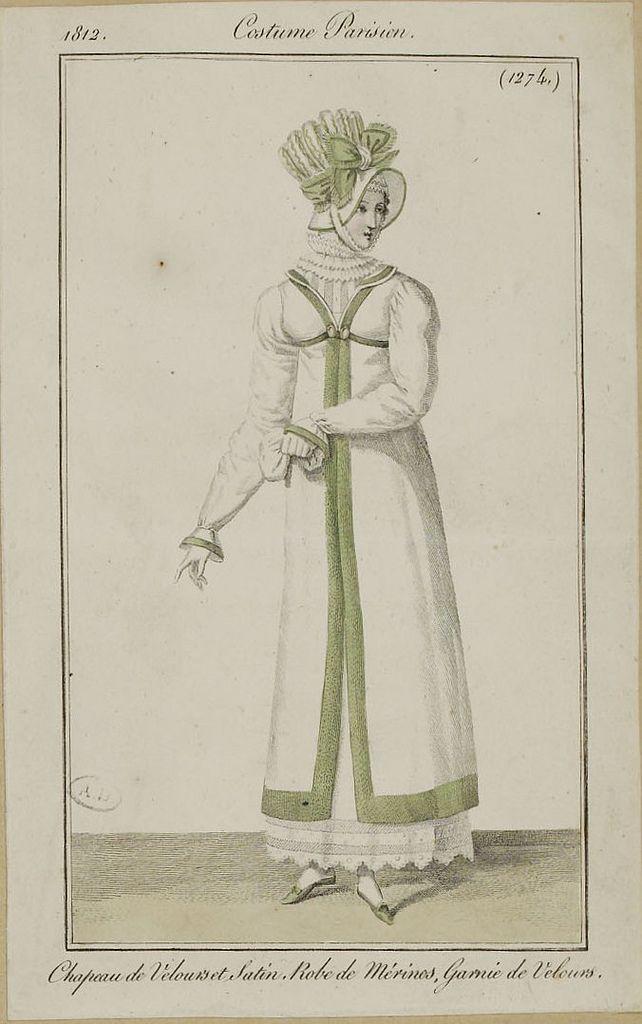 Costume Parisien, 1812, velvet and satin bonnet.