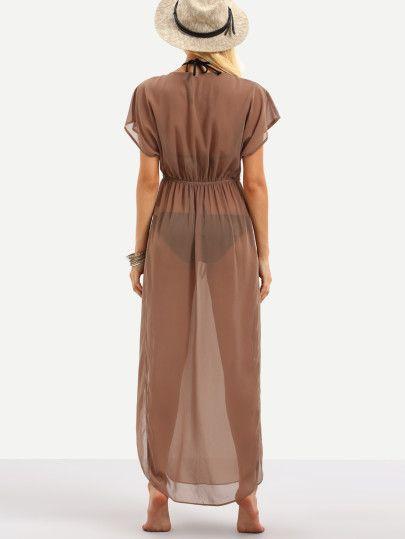 Brown Drawstring Waist V Neck Split Dress