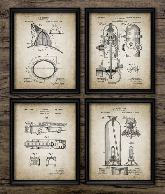 Vintage Firefighter Patent Print Firefighting Blueprint