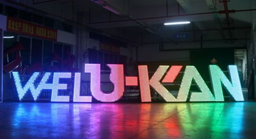 Our successful case: sign WELU-KAN is in brushed stainless steel channel letters with led frontlit, with 7 colors' lighting changing.  #3Dledlighting  #businesslogo #advertisingsignage  #custommade #outdoorindoor   #metalsign   #stainlesssteel   #banner   #signboard   #logotype #reverseletter   #channelletter   #halobacklit   #frontlit #lightbox