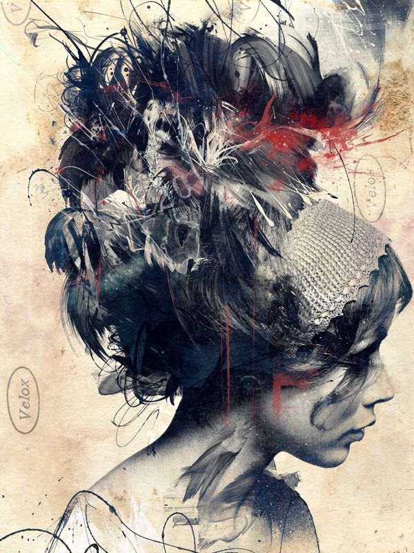 Artist: Russ Mills is escaping reality {abstract female head woman face profile portrait mixed media painting} <3