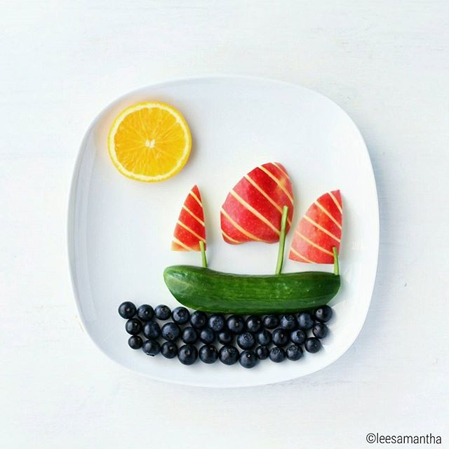 fun food:  fruit and veggie boat snack