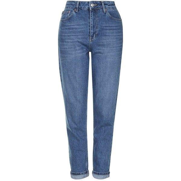 MOTO Dark Blue Mom Jeans - Topshop ❤ liked on Polyvore featuring jeans, dark blue jeans, blue jeans, deep blue jeans and topshop jeans