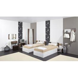rredamento per camere d'albergo matrimoniale modello MERIDA - elegante, robusta ed accogliente, in miglior rapporto prezzo - qualita, per alberghi, hotel, agriturismi, case vacanza, appartamenti vacanza, bungalow, motel, bed & beakfast, pensioni.