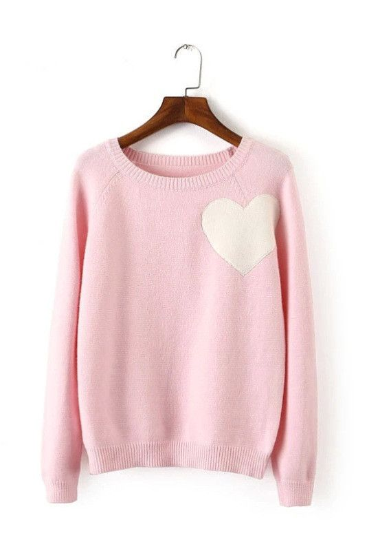 Pink Heart Knitted Sweater