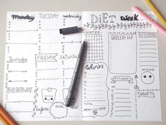 diet bujo journal weekly diet printable daily planner agenda diet week food weight diy organizer notebook journal download lasoffittadiste