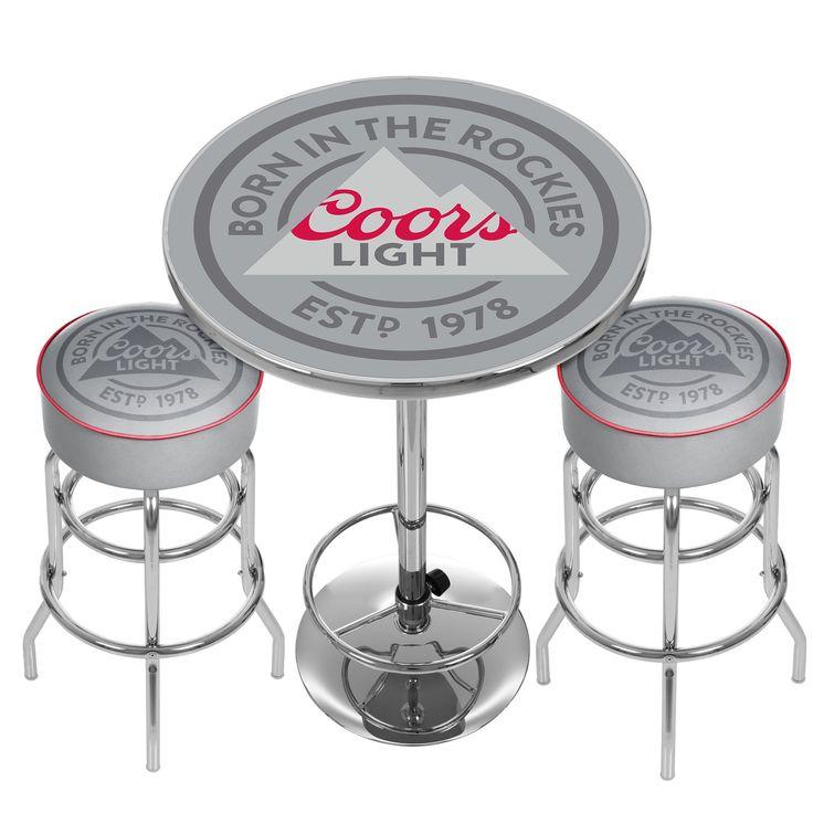 Trademark Coors Light Game Room Combo - 2 Bar Stools and Table (Coors Light 2 Bar Stools and Table), Red (Chrome)